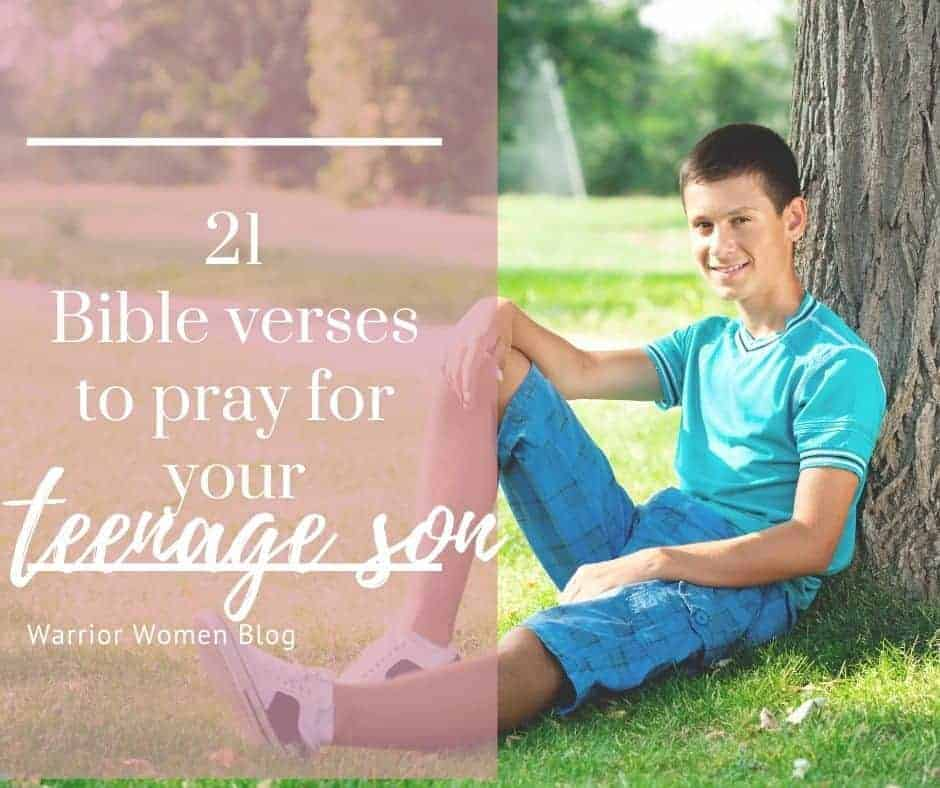 21 Bible verses to pray over your teenage son with a teenage boy leaned against a tree facebook post image