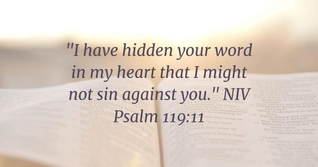 Open Bible with sun shining above and Psalm 119:11 written over it