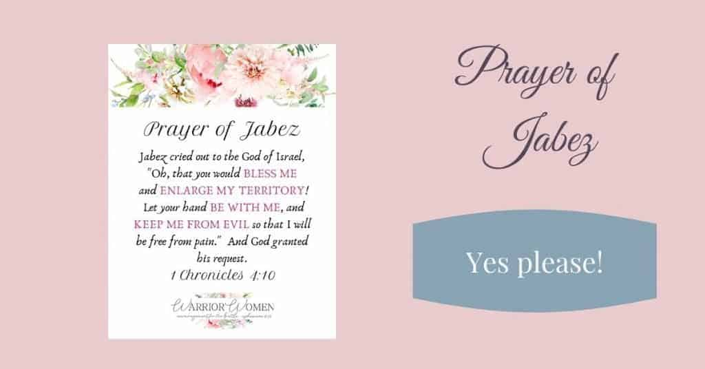 image of a piece of paper with the Prayer of Jabez printed on it